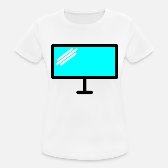 Gift Idea T-Shirts - Pc screen blue with reflection - Women's Sport T-Shirt white