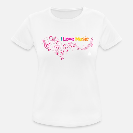 Love T-Shirts - I love Music - Women's Sport T-Shirt white