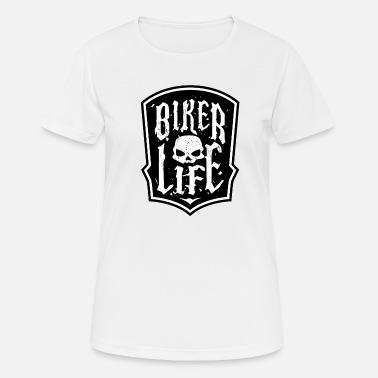 GROUPE SANGUIN Super Plus T-shirt Femmes Fun Shirt Motif tete de mort moto Bikerin