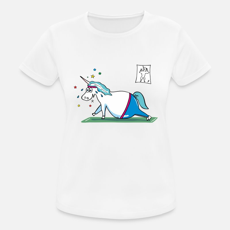 Licorne T-shirts - Fat Unicorn doing sports - graisse licorne - T-shirt sport Femme blanc