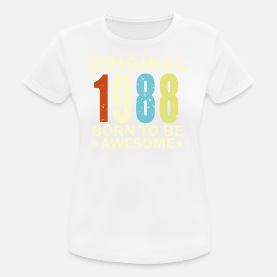 Birthday T-Shirts - 1988 Birthday Bday Present - Frauen Sport T-Shirt Weiß
