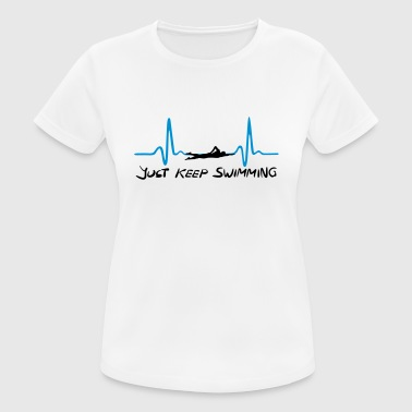 Just keep swimming, Swimming Heartbeat, ECG - Camiseta mujer transpirable