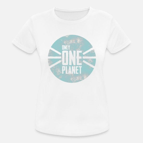Eco T-shirts - planeet - Vrouwen sport T-shirt wit