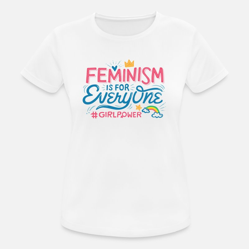 Frauenpower T-Shirts - FEMINISM IS FOR EVERYONE - Frauen Sport T-Shirt Weiß