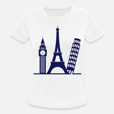 Landmassa Europe / London / Parijs / Pisa - vrouwen T-shirt ademend