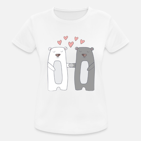 Couple T-shirts - Bears in Love - T-shirt sport Femme blanc