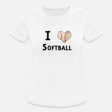 I Love Softball I Love Softball Heart Ball Fan Design - Women's Breathable T-Shirt