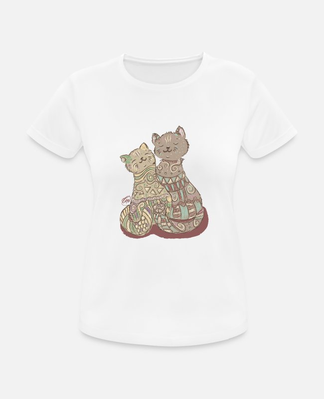 I Love T-Shirts - Lovely Cats - Frauen Sport T-Shirt Weiß