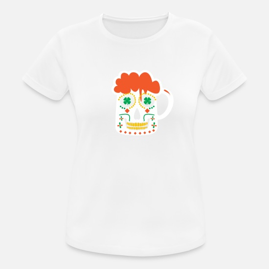 Ontwerp T-shirts - Sugar Skull Beer Mok St. Patrick's Day Iers - Vrouwen sport T-shirt wit