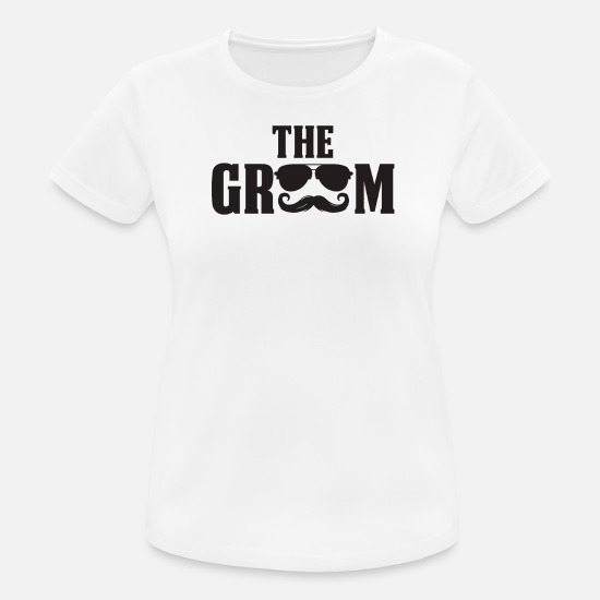 Bride T-Shirts - Wedding Party Wedding Groom Sunglasses - Women's Sport T-Shirt white
