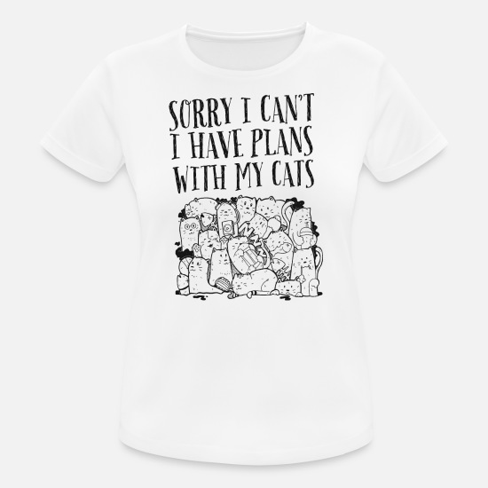 Bästa Vänner T-shirts - Sorry I Can't I Have Plans With My Cats - Sport T-shirt dam vit