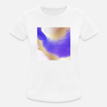 Chic Blue Watercolor Gold Abstract Painting - Women's Sport T-Shirt