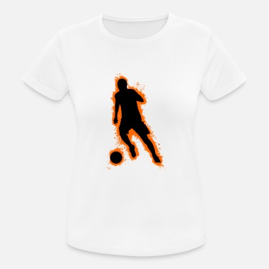 Pigskin Silhouette football orange and black outline - Women's Breathable T-Shirt