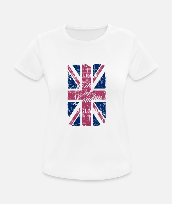 Londres Camisetas - Union Jack - London - Vintage Look - Camiseta deportiva mujer blanco