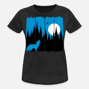 Trophy Wolf in front of the moon / sun forest dweller forest animal gift - Women's Sport T-Shirt