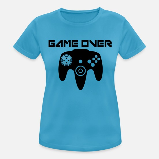 Spiel T-Shirts - Game Over - Frauen Sport T-Shirt Saphirblau