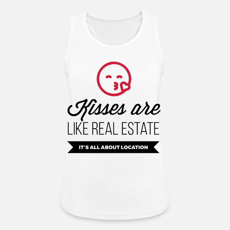 Desire Tank Tops - Kisses are like real estate. Location, location, location! - Women's Sport Tank Top white