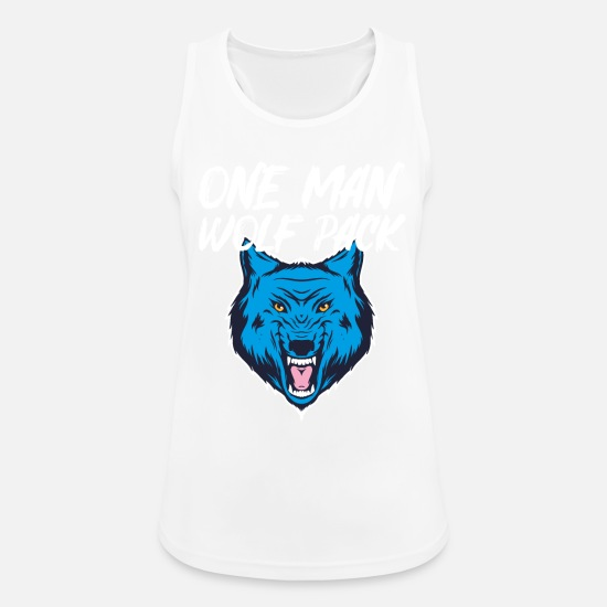 Volle Maan Tanktops - Een man Wolf Pack Blue Angry Alpha Wolf Gift - Vrouwen sport tank top wit