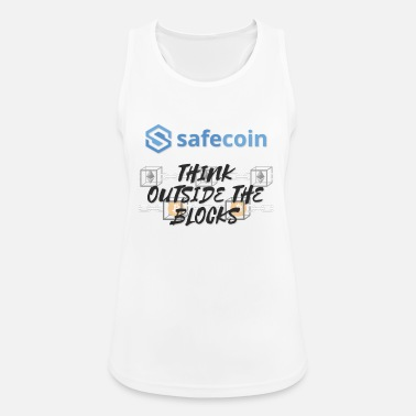 SafeCoin; Think Outside the Blocks (black + blue) - Women's Breathable Tank Top