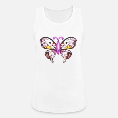 Breast Cancer Ribbon Sugar Skull Pink Ribbon Butterfly Breast Cancer - Women's Breathable Tank Top