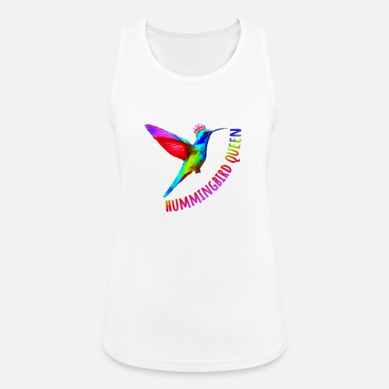 Love Tank Tops - Hummingbird Queen Cool Animal T-Shirt - Women's Sport Tank Top white