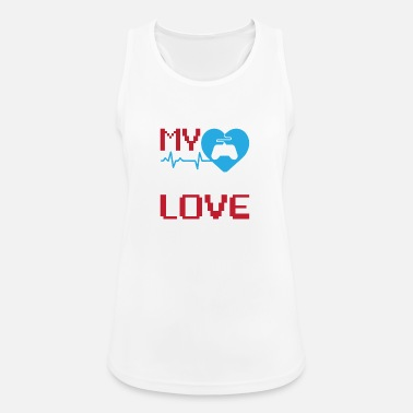 My First Love Gaming Heart Controller Gift - Women's Sport Tank Top