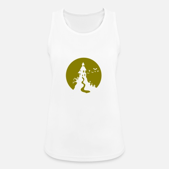 Witches Broom Tank Tops - Halloween haunted castle Ghost haunted ghost - Women's Sport Tank Top white
