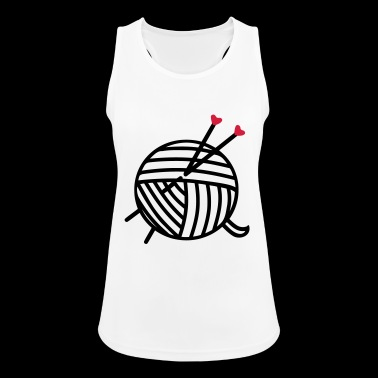 Wool ball of wool motif with heart knitting gifts - Women's Breathable Tank Top