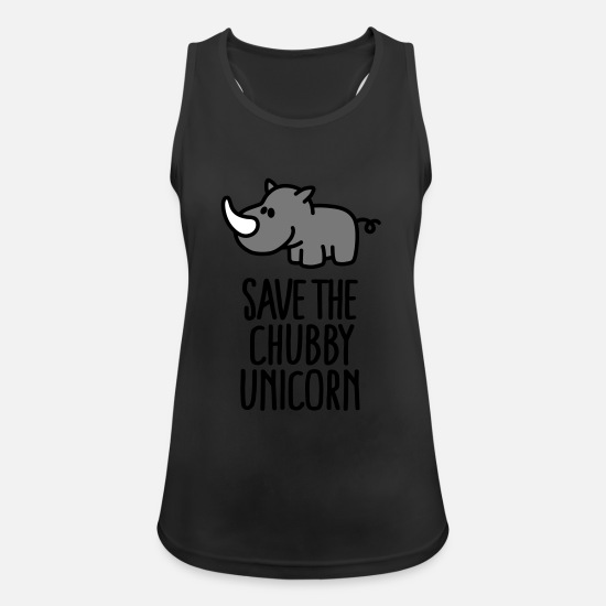 Unicorn Tanktoppar - Save the chubby unicorn - Sporttanktopp dam svart
