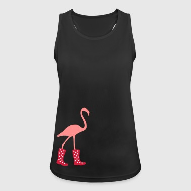 Flamingo with rubber boots - Women's Breathable Tank Top