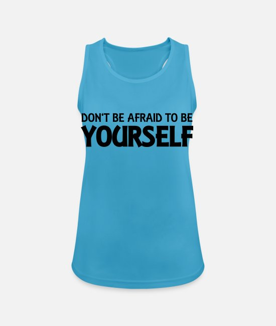 Yourself Tank topy - Don't be afraid to be yourself - Sportowy top damski szafirowy