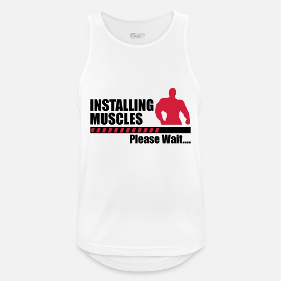 Funny Tank Tops - Installing Muscles - Men's Sport Tank Top white