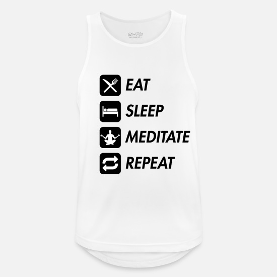 Gift Idea Tank Tops - EAT SLEEP MEDITATE REPEAT Meditation Motif White - Men's Sport Tank Top white