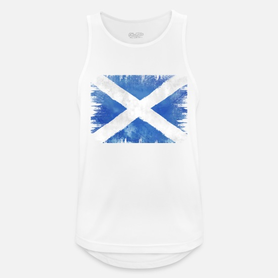 Scotland Tank Tops - SCOT VINTAGE FLAG USED LOOK WATERCOLOR - Men's Sport Tank Top white
