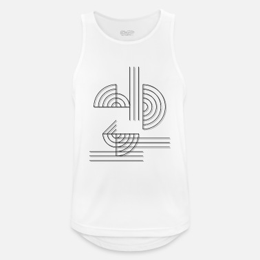 Abstract circles and lines as a pattern in black - Men's Breathable Tank Top