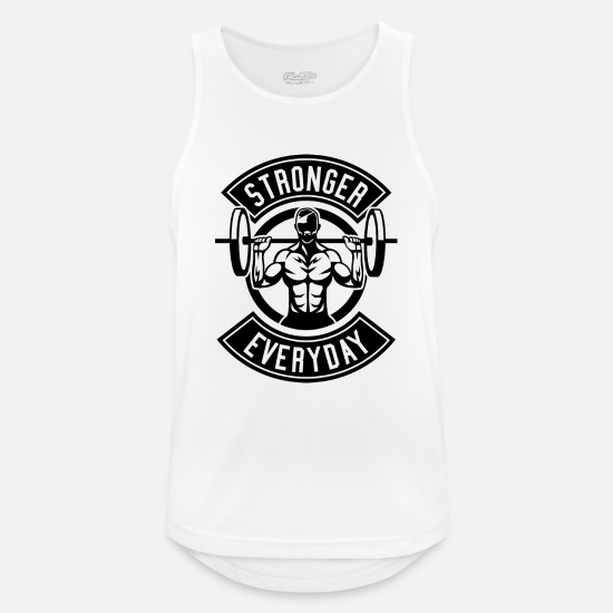 Dumbbells Tank Tops - Stronger Than All - Men's Sport Tank Top white