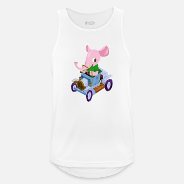 Vintage Elephant in a vintage car - Men's Sport Tank Top