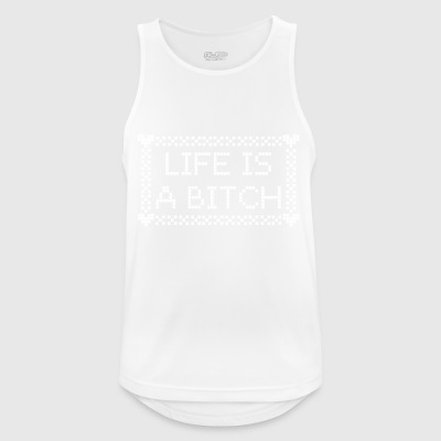 witty saying Life is a bitch in knitting patterns - Men's Breathable Tank Top