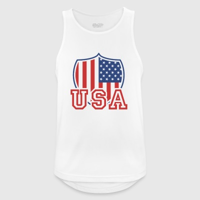USA T-shirt Flag Vintage US Shield - Andningsaktiv tanktopp herr
