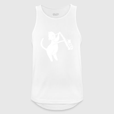 Cat plays saxophone - Men's Breathable Tank Top
