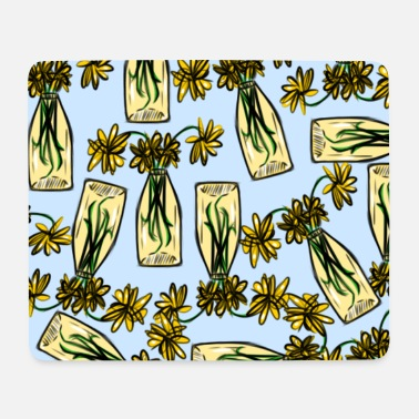 Rosary Yellow rosary flower vase - Mouse Pad