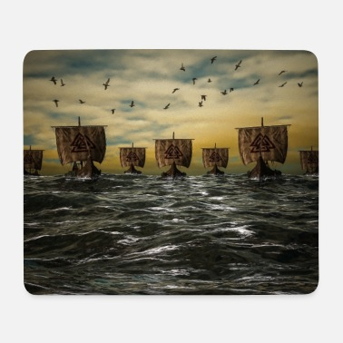 Viking ships at sea gift - Mouse Pad