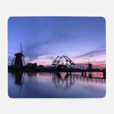 Heritage Windmills on the water after sunset - Mouse Pad