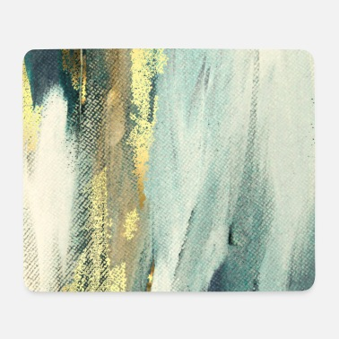 Blue Blue Paint Gold Brushstrokes Abstract Texture - Mouse Pad