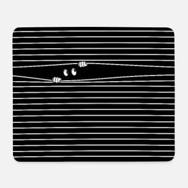 2 Eyes Behind The Blind HAPPY, PEEPING FUNNY CUTE EYES. - Mouse Pad