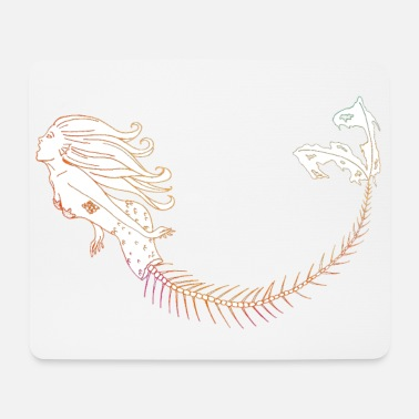 Mermaid Orange Outline - Mousepad