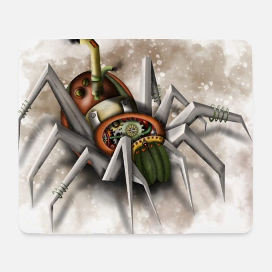 Steampunk Mouse Pads - Steampunk Mechanical Spider - Mouse Pad white