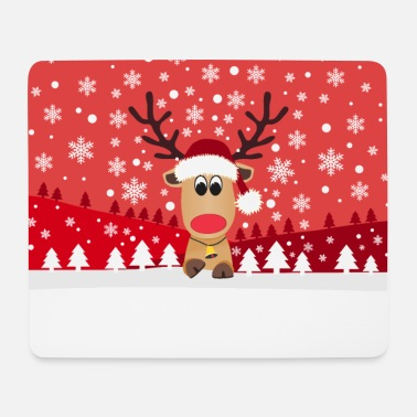 Funny reindeer snowflake winter christmas - Mouse Pad