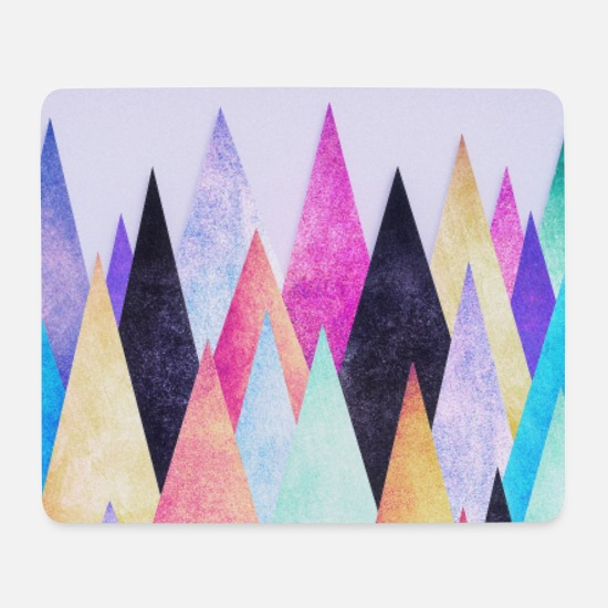 Birthday Mouse Pads - Hipster triangles (geometry) Abstract Mountains - Mouse Pad white