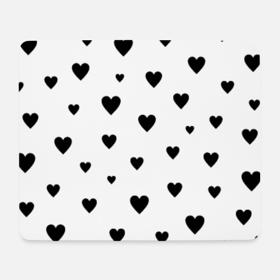 Valentine's Day Mouse Pads - CUTE BLACK HEARTS BY SUBGIRL - Mouse Pad white